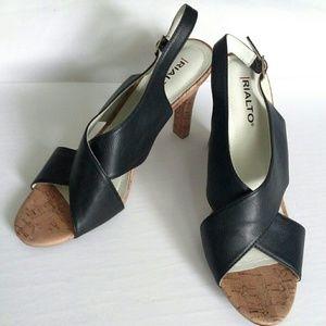 Black Criss-Cross Peep Toe Heels size 8.5 M